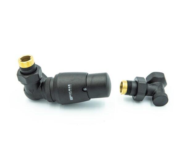 PLANITI – Varioterm komplet termostatyczny czarny strukturalny głowica w prawo, zasilenie na zaworze termostatycznym