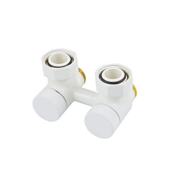 Zawór zespolony odcinający kątowy SCHLOSSER biały 3/4xM22x15 [50mm]