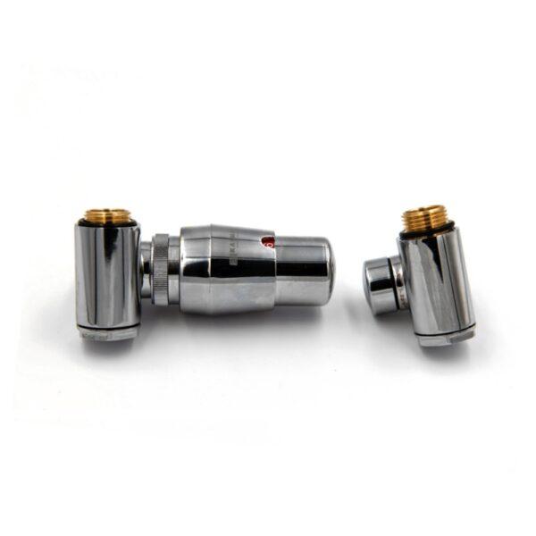 INTEGRA – Varioterm zawór termostatyczny i powrotny z trójnikiem chrom głowica w prawo