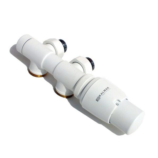 DUETI - Varioterm zawór termostatyczny zespolony biały strukturalny głowica w prawo, zasilany z lewej